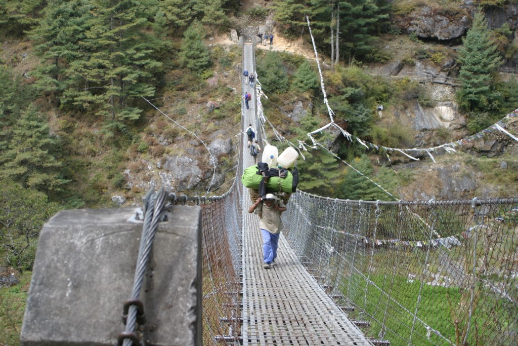 Porter on suspension bridge