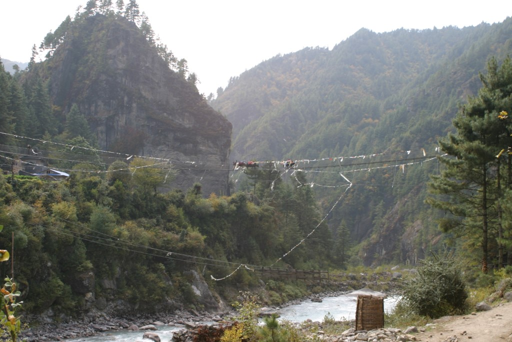 Yaks crossing bridge