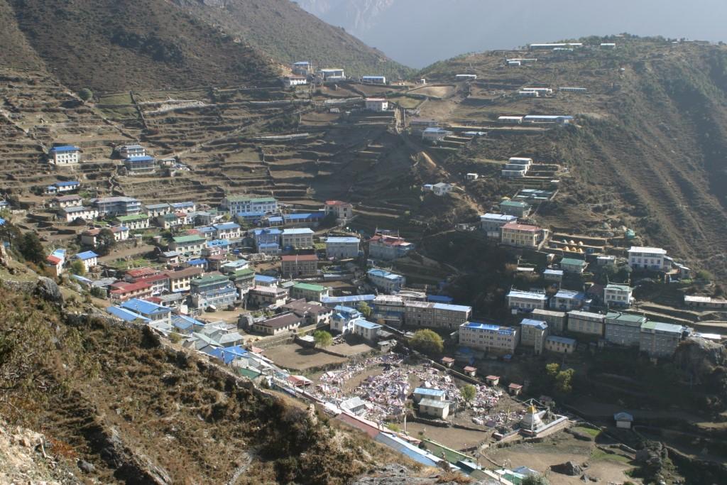 Namche Bazaar with Tibetan market at bottom