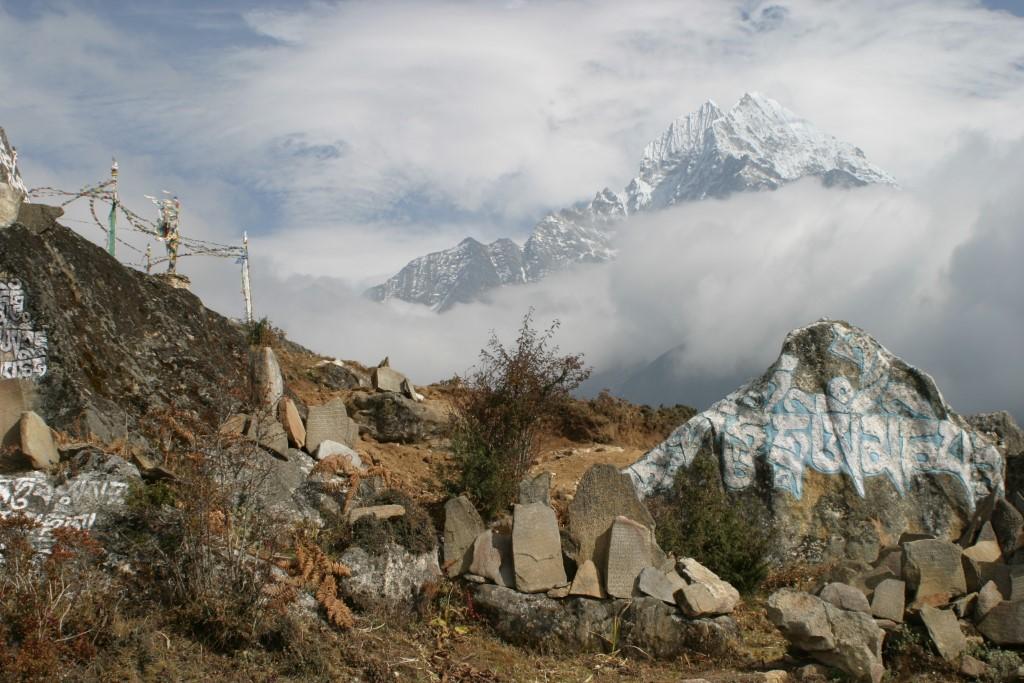 Mani stones and mountain scenery