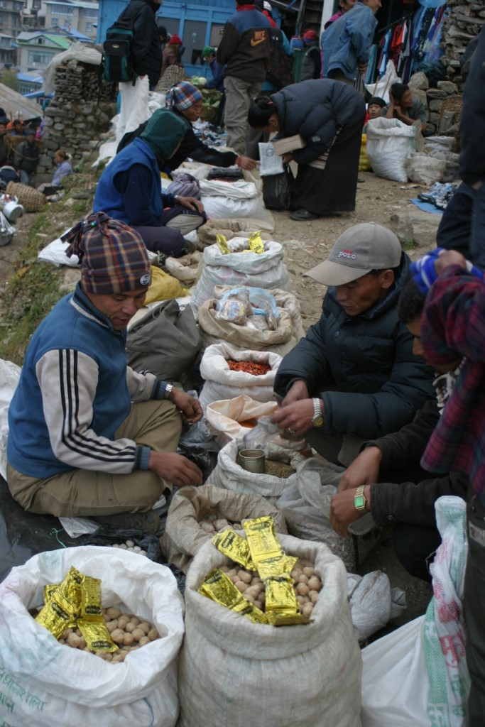 Market traders, Namche Bazaar