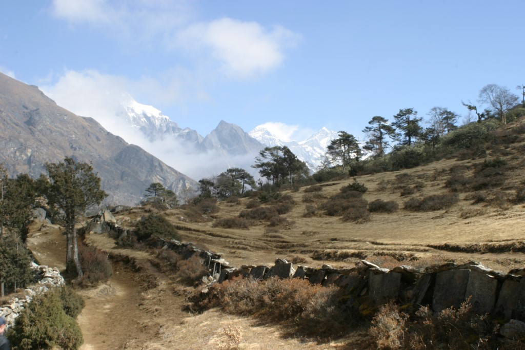 On the trail, with Everest in the background