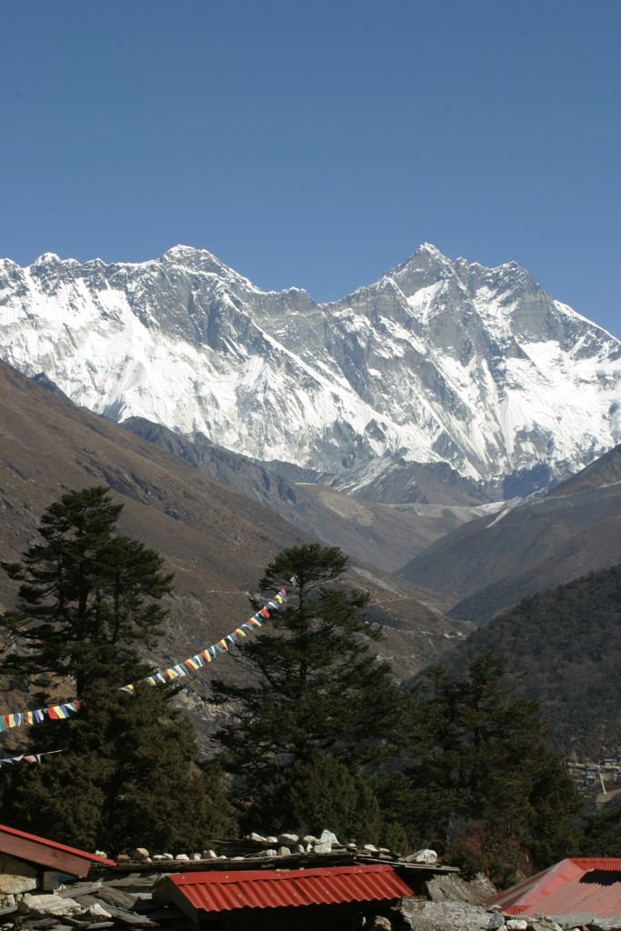 Everest and Lhotse from Tengboche
