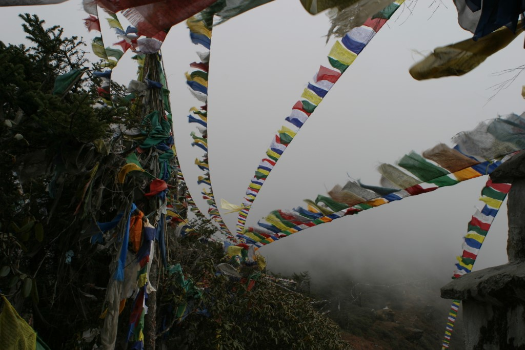 Prayer flags in the clouds