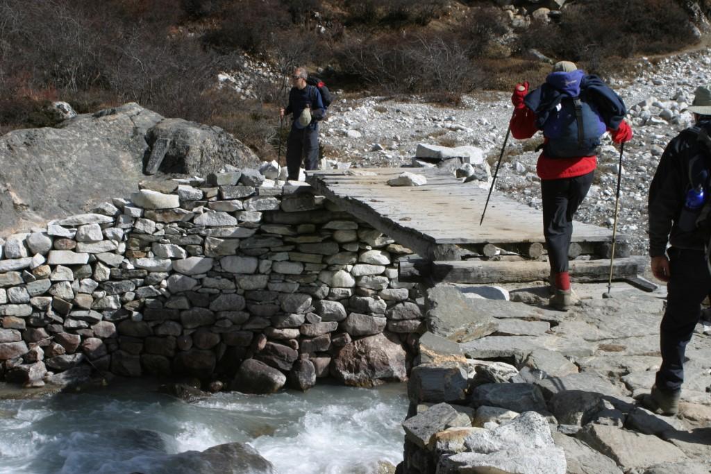 Crossing a small bridge