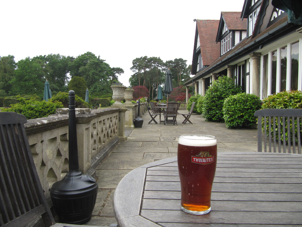 A pint of Thwaites Lancaster Bomber Ale, in the garden of the officer's mess…