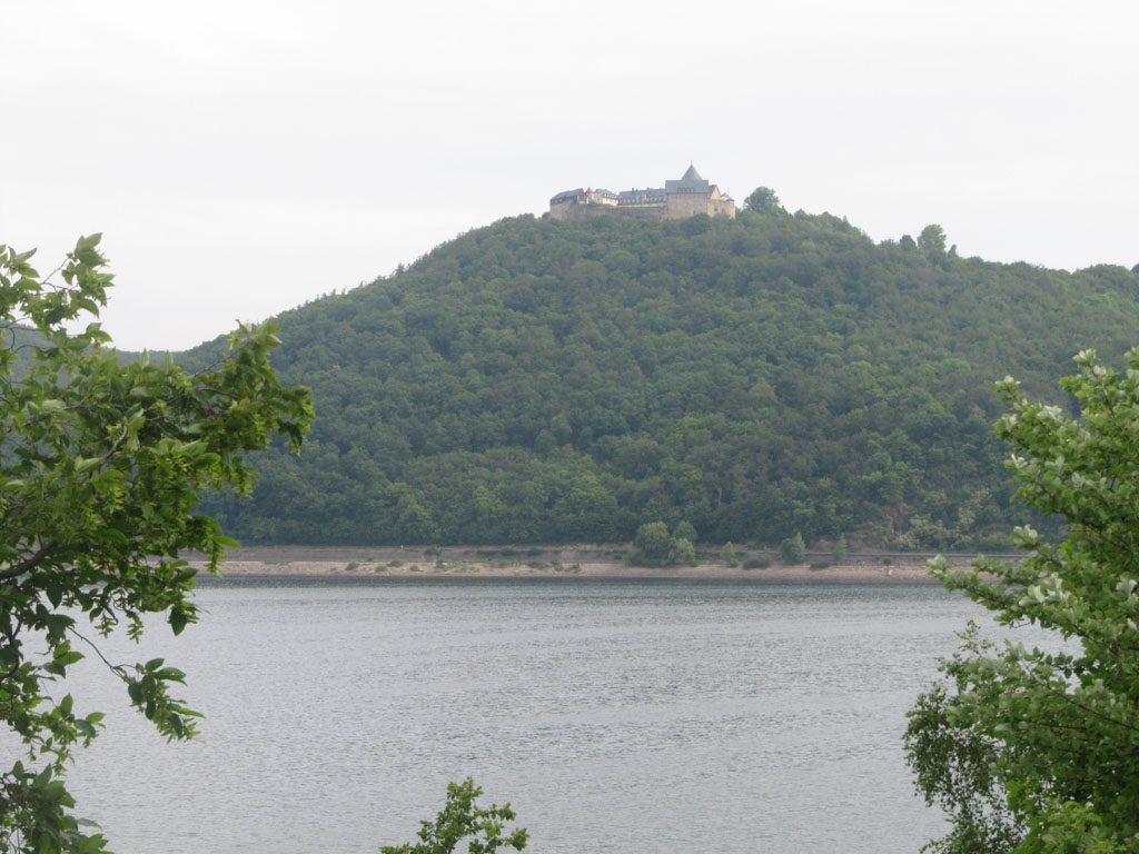The monastery on top of the hill over which the Lancasters flew before dropping to the lake