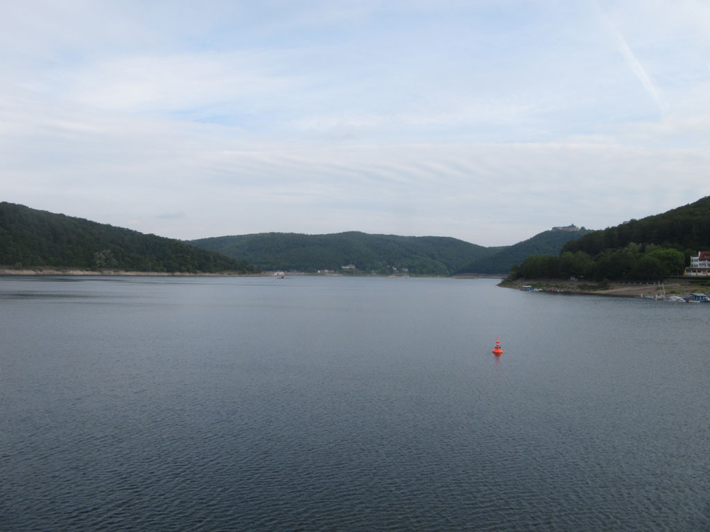 Looking along the Edersee from the dam towards the monastery