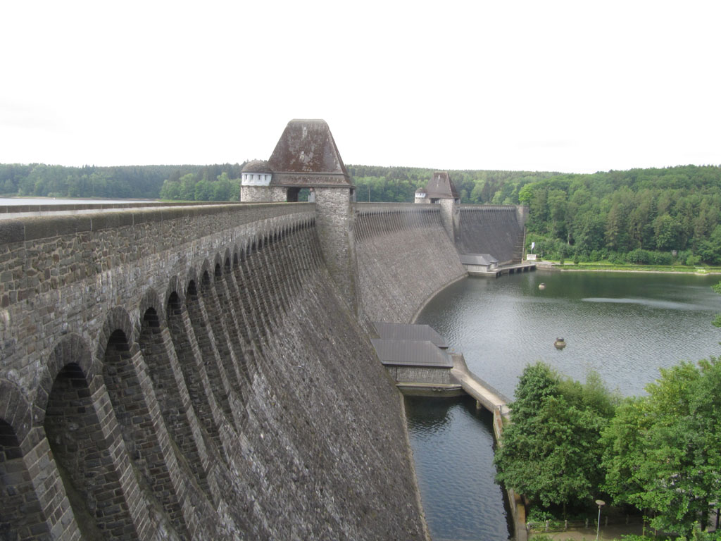 The Möhne Dam, primary target and defended by anti-aircraft guns in the towers
