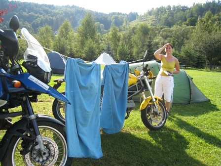 In the sunshine at the Na Spici campsite, Czech Republic