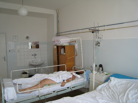 The hospital room in Poprad, which Tracy likens to 'Tenko'…