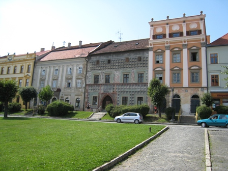 Beautiful buildings line the square in Levoca…