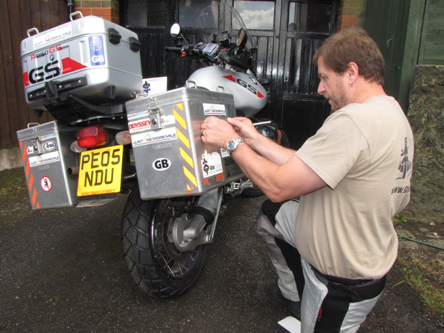 Paul applies the final touches to the bike...