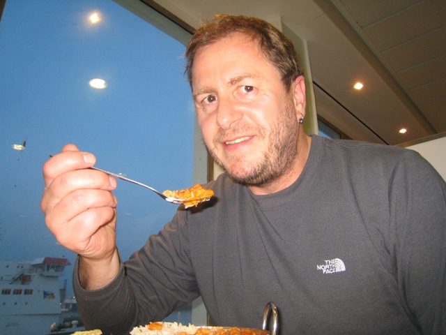 Enjoying a Chicken Tikka Masala on the ferry