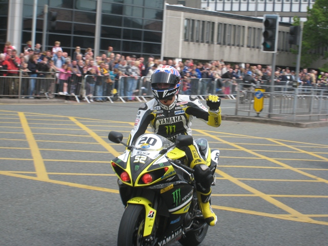 James Toseland heads the cavalcade through Northwich