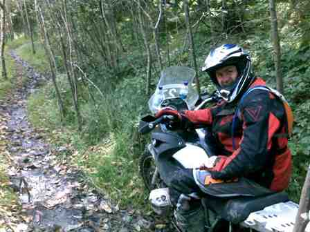 Paul about to tackle another narrow track through the forest
