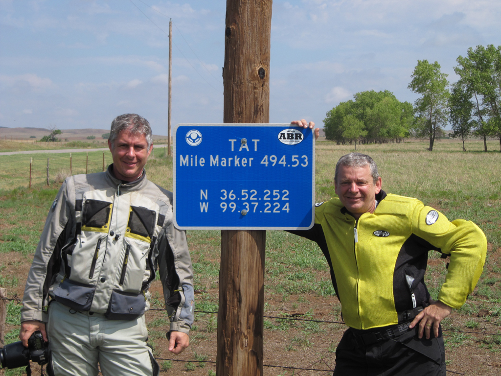 Aaron and Harold by the TAT sign outside Buffalo, OK