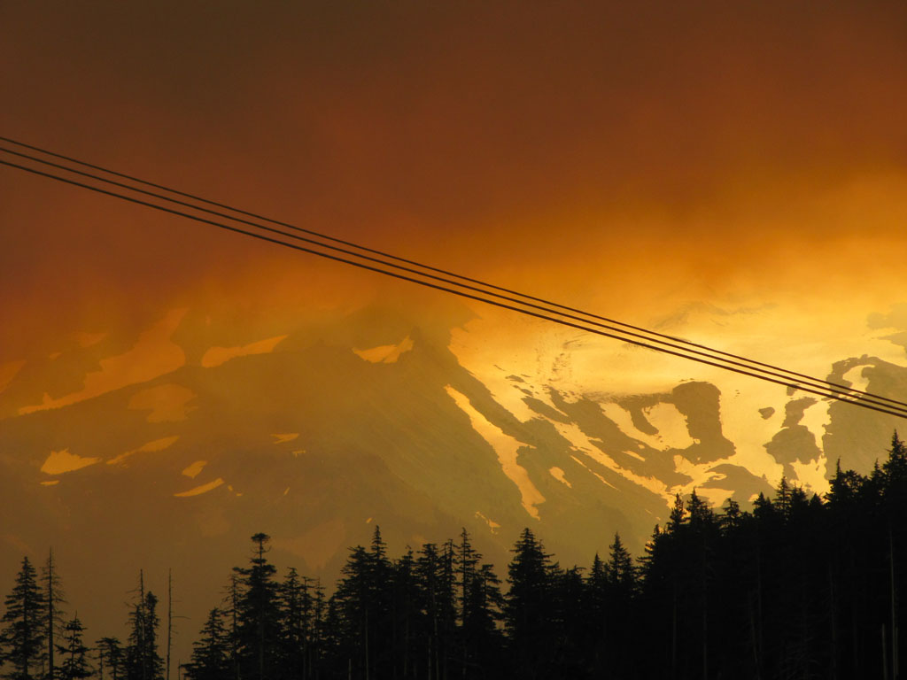 Mt Hood obscured by forest fire clouds