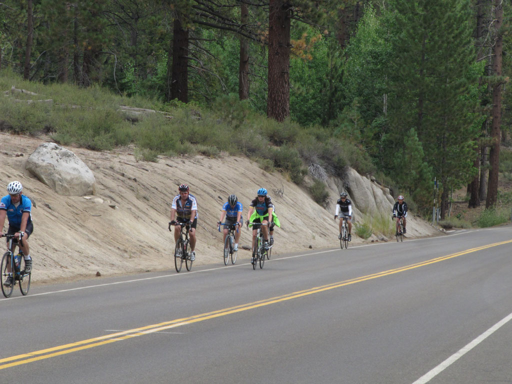 A small group of the Tour de Tahoe cyclists