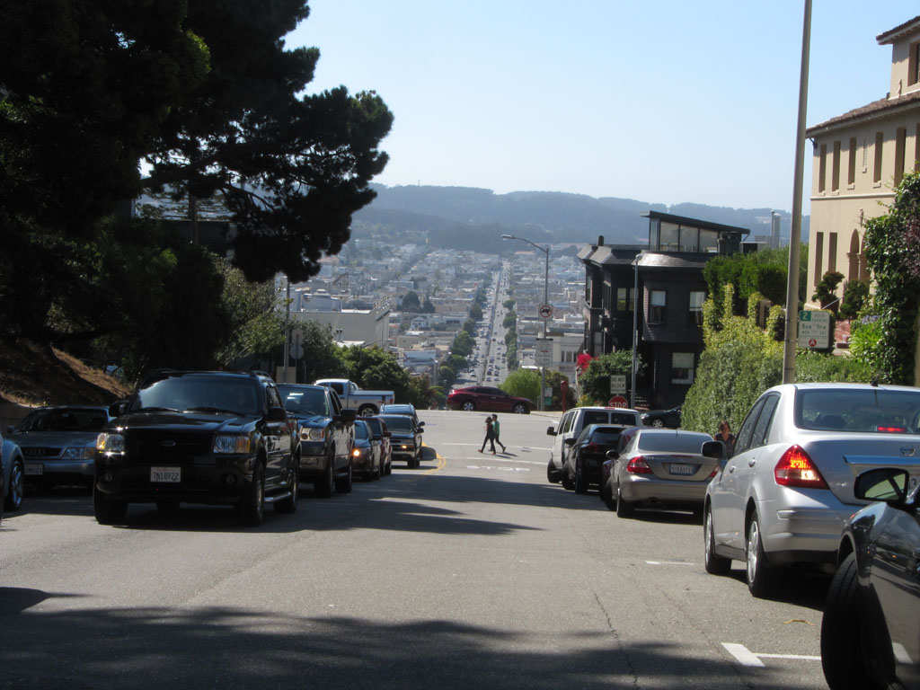 Looking back down Lombard Steet - steep or what!