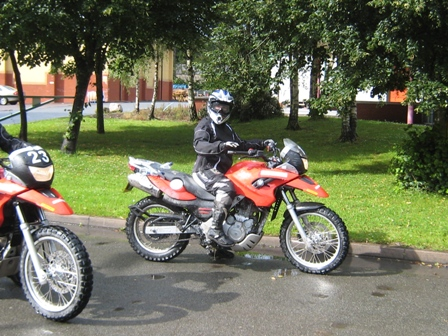 Tracy sat on her BMW F650GS…
