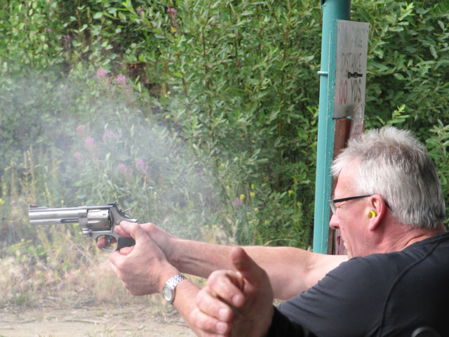 'Go ahead, Punk, make my day' – Nick pretends to be Clint Eastwood with a 44 Magnum