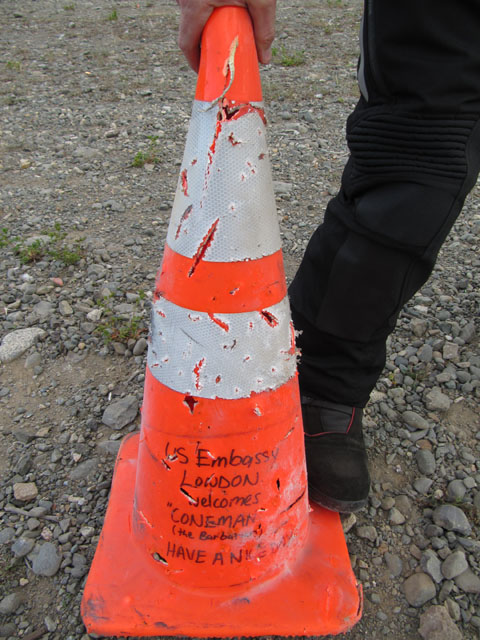 The traffic cone, only slightly damaged...