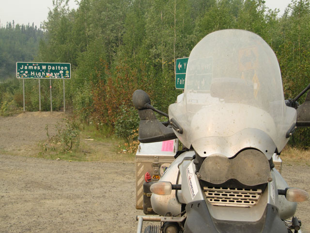 My filthy bike, safe from the trip up and down the Dalton Highway