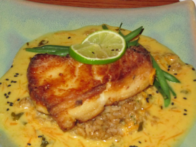 Patagonian toothfish with Thai red curry sauce...