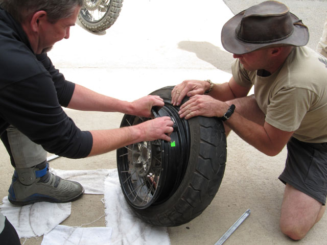 Step 4: Using brute force, pull the rim away from the inner edge of the old tyre...