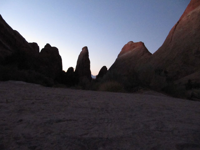 The eerie sight of the rock formations before dawn...