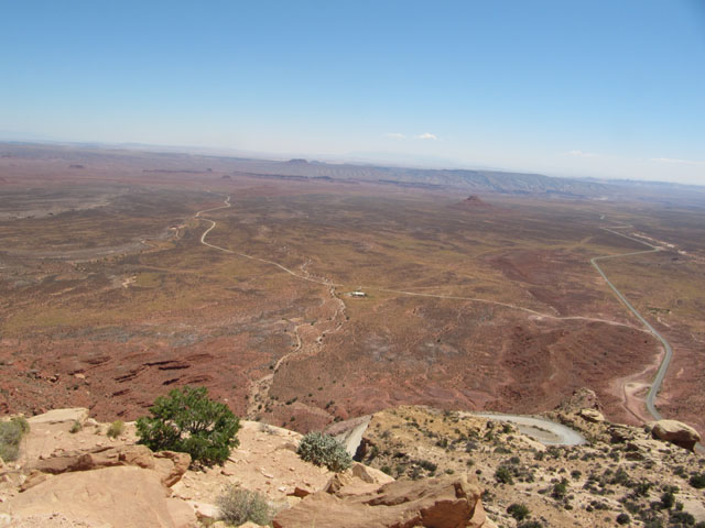 Looking out from the start of the Moki Dugway, one of the switchbacks visible at the bottom...