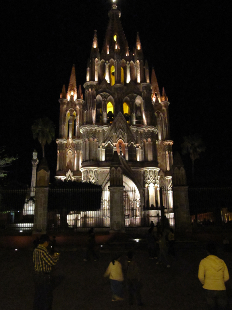 The church in the square in San Miguel de Allende at night