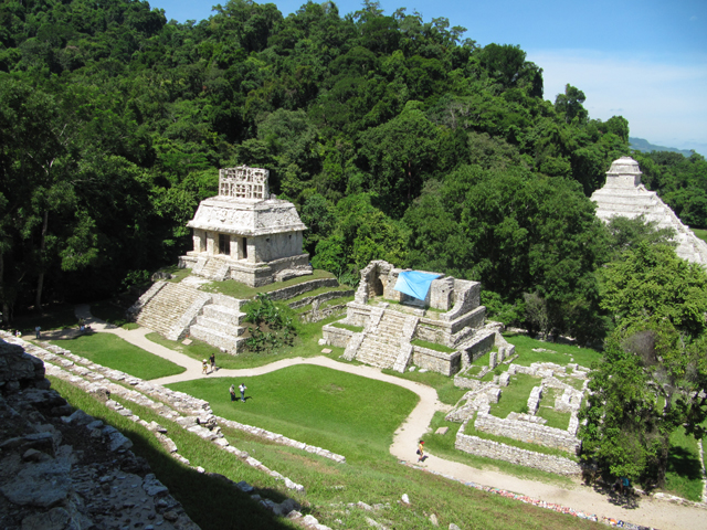 Two of the temples built by Pakal's son, with the Temple of Inscriptions in the background...