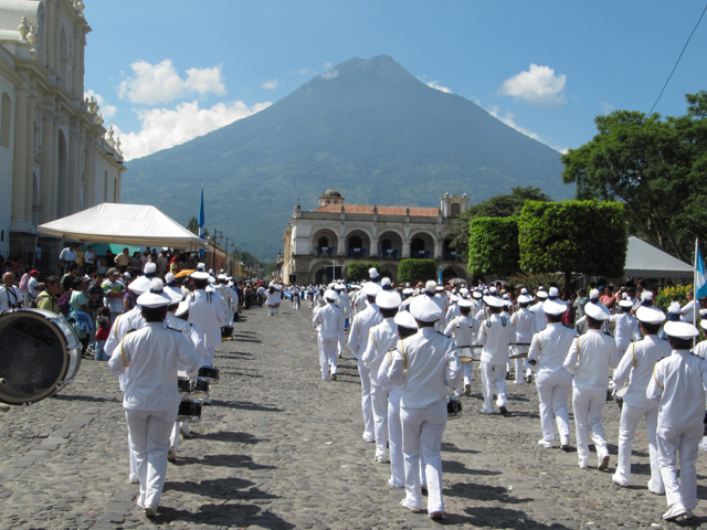 Marching band, Independence Day, Antigua Guatemala...