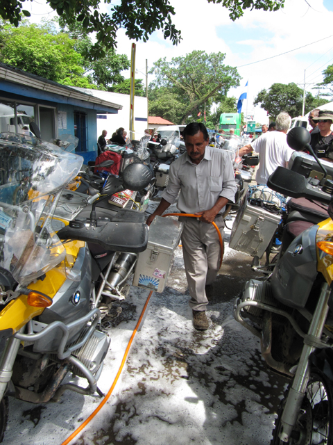 Fumigating the bikes before entering Costa Rica...