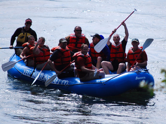 Rafting down the Yellowstone River...