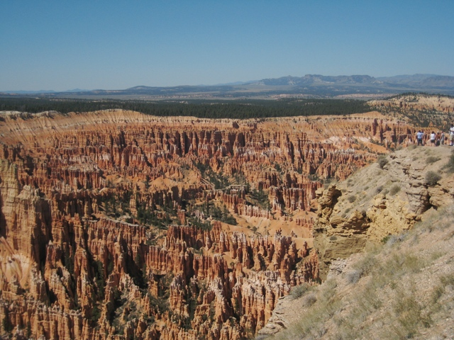 The infamous amphitheatre at Bryce Canyon – the scale can be gleaned by the size of the other tourists admiring the view on the right