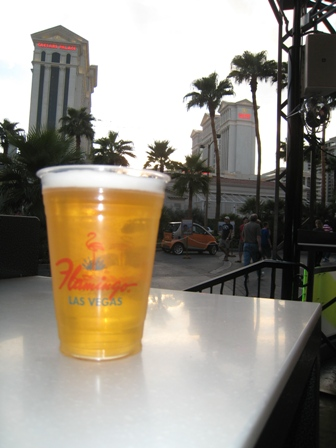 First beer outside Flamingo...