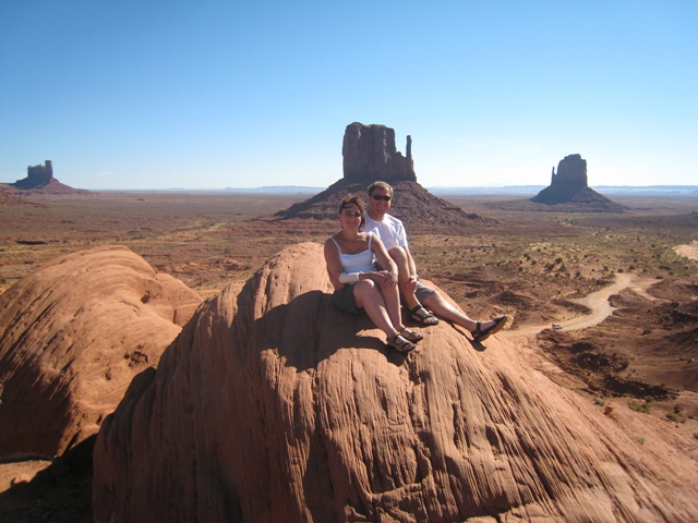 Tracy and Paul in front of Monument Valley's famous Mittens…