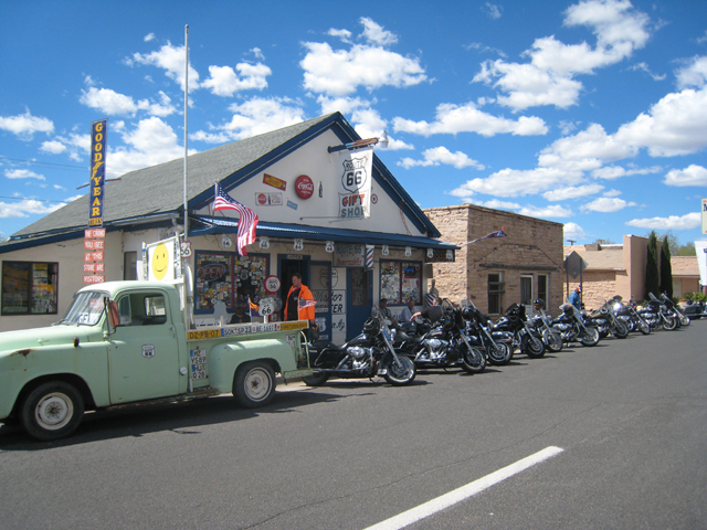 An alternative to the coach party on Route 66 – the Harley Davidson bikes lined up outside a cafe…