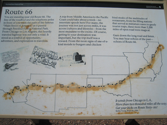 A sign in the Petrified Forest marking the site of part of the original Route66…